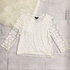 TOPSHOP Crochet Floral White Crop Top
